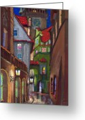 Buildings Drawings Greeting Cards - Prague Old Street  Greeting Card by Yuriy  Shevchuk