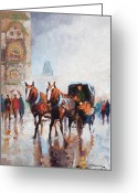 Rain Painting Greeting Cards - Prague Old Town Square Greeting Card by Yuriy  Shevchuk