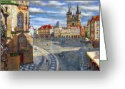 Buildings Drawings Greeting Cards - Prague Old Town Squere Greeting Card by Yuriy  Shevchuk