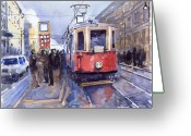 Old Painting Greeting Cards - Prague Old Tram 03 Greeting Card by Yuriy  Shevchuk