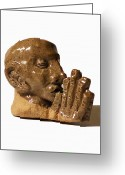 Man Ceramics Greeting Cards - Prayer Greeting Card by John Keasler