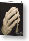 Hand Drawings Greeting Cards - Praying Hands Greeting Card by Adrian Pickett