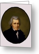 Founding Fathers Painting Greeting Cards - President Andrew Jackson Greeting Card by War Is Hell Store