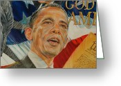 President Obama Greeting Cards - President Barack Obama Greeting Card by Alex Krasky
