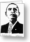Barack Drawings Greeting Cards - President Barack Obama Greeting Card by Ashok Naraian