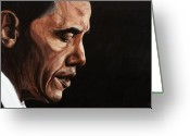 President Obama Greeting Cards - President Barack Obama Portrait Greeting Card by Patty Vicknair