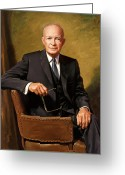Presidential Portrait Greeting Cards - President Eisenhower Greeting Card by War Is Hell Store