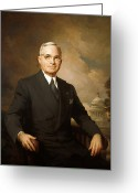 Great Painting Greeting Cards - President Harry Truman Greeting Card by War Is Hell Store