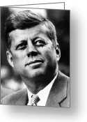 Prize Greeting Cards - President Kennedy Greeting Card by War Is Hell Store