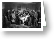President Drawings Greeting Cards - President Lincolns Deathbed Greeting Card by War Is Hell Store