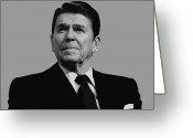 United States Presidents Greeting Cards - President Reagan Greeting Card by War Is Hell Store