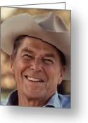 America Greeting Cards - President Ronald Reagan Greeting Card by War Is Hell Store