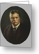 America United States Greeting Cards - President Theodore Roosevelt  Greeting Card by War Is Hell Store