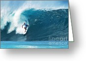 Action Sport Art Greeting Cards - Pro Surfer Kelly Slater Surfing in the Pipeline Masters Contest Greeting Card by Paul Topp