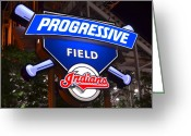 Baseball Mitt Greeting Cards - Progressive Field Greeting Card by Robert Harmon