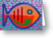 Giclees Greeting Cards - Psychedelic Fish Greeting Card by John  Nolan