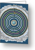 Cosmogony Greeting Cards - Ptolemaic Cosmology Greeting Card by Sheila Terry