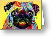 Canine Greeting Cards - Pug Greeting Card by Dean Russo
