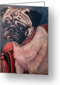 Fine Art - Animals Greeting Cards - Pugsy Greeting Card by Enzie Shahmiri