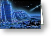 Lynette Cook Greeting Cards - Pulsar Planets II Greeting Card by Lynette Cook