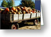 "\\\\\\\""boone County Photo Greeting Cards - Pumpkin Wagon Greeting Card by Cricket Hackmann"