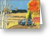 Jet Pastels Greeting Cards - Purebreds Greeting Card by Tim Koziol
