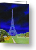 Signal Photo Greeting Cards - Purple Eiffel Greeting Card by Chuck Staley