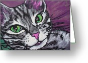 Gray Tabby Greeting Cards - Purple Tabby Greeting Card by Sarah Crumpler