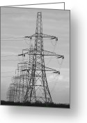 English Countryside Print Greeting Cards - Pylons Greeting Card by Darren Burroughs