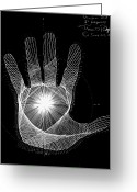 Aliens Drawings Greeting Cards - Quantum Hand through my eyes Greeting Card by Jason Padgett