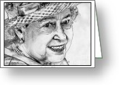 Queen Mother Elizabeth Greeting Cards - Queen Elizabeth II in 2012 Greeting Card by J McCombie