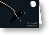 Full Moons Greeting Cards - Quoth The Raven Nevermore Greeting Card by Wingsdomain Art and Photography