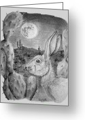 Outerspace Greeting Cards - Rabbit On The Moon Greeting Card by Jerry Padilla