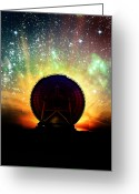 Communications Tower Greeting Cards - Radio Telescope And Night Sky, Artwork Greeting Card by Victor Habbick Visions