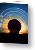 Communications Tower Greeting Cards - Radio Telescope And Star Trails, Artwork Greeting Card by Victor Habbick Visions