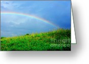 Thomas R. Fletcher Greeting Cards - Rainbow over Pasture Field Greeting Card by Thomas R Fletcher