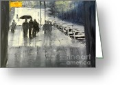 Pamela Meredith Greeting Cards - Rainy City Street Greeting Card by Pamela  Meredith
