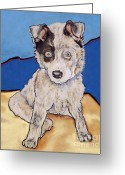 Dog Prints Pastels Greeting Cards - Reba Rae Greeting Card by Pat Saunders-White