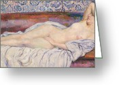 Nudes Greeting Cards - Reclining Nude Greeting Card by Theo van Rysselberghe