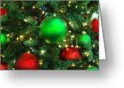 Tree Prints Greeting Cards - Red and Green Holiday Greeting Card by Karen Musick