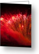 Pyrotechnics Greeting Cards - Red Blaze Greeting Card by Paul Mangold