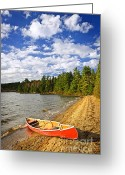 Paddles Greeting Cards - Red canoe on lake shore Greeting Card by Elena Elisseeva