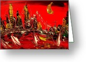 Leaned Greeting Cards Greeting Cards - Red City Greeting Card by Mark Kazav