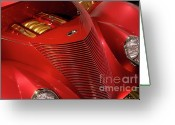 Gold Ford Greeting Cards - Red Classic Car Details Greeting Card by Oleksiy Maksymenko