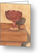 Chalice Greeting Cards - Red Glass Chalice Greeting Card by Ken Powers