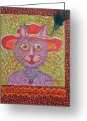 Storybook Greeting Cards - Red Hat Cat Greeting Card by Marlene Robbins