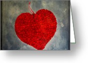 Heart-shape Greeting Cards - Red heart Greeting Card by Bernard Jaubert