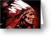 Native American Greeting Cards - Red Pipe Greeting Card by Paul Sachtleben