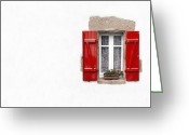 Curtain Greeting Cards - Red shuttered window on white Greeting Card by Jane Rix