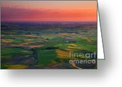 Wheatfields Photo Greeting Cards - Red Skies over the Palouse Greeting Card by Mike  Dawson
